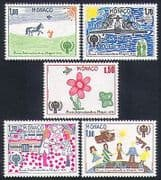 Monaco 1979 IYC  /  Children's Art  /  Horse  /  Butterfly  /  Plane  /  Tank  /  Guns 5v set (n33856)