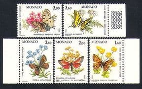 Monaco 1984 Butterflies  /  Moths  /  Insects  /  Nature  /  Park  /  Conservation 5v set (n32802)