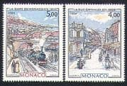 Monaco 1984 Trains  /  Transport  /  Steam  /  Art  /  Railway  /  Rail  /  Station 2v set (n32628)