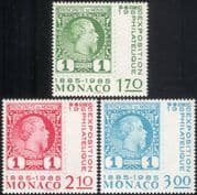 Monaco 1985 First Monegasque Stamps/ Centenary/ Prince Charles III/ Royalty/ S-on-S/ Stamp-on-Stamp 3v set (mc1073)
