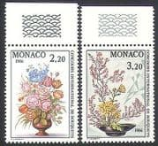 Monaco 1985 Flowers  /  Roses  /  Plants  /  Nature  /  Art  /  Flower Show 2v set (n34351)