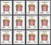 Monaco 1985 Postage Due  /  To Pay  /  Coat-of-Arms  /  Heraldry 12v set (n40232)