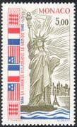 Monaco 1986 Statue of Liberty Centenary/ Engineering/ Flags/ Eiffel/ People/ Construction 1v (n43170)