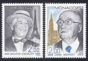 Monaco 1988 Chevalier  /  Monnet  /  People  /  Singing  /  Music  /  Statesman 2v set (n39561)