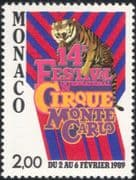 Monaco 1988 Circus/ Tigers/ Entertainment/ Animals/ Animation/ Nature 1v (n34773)