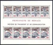 Monaco 1988 Europa  /  TGV Mail Train  /  Rail  /  Plane  /  Space  /  Transport 10v sht (n32866)