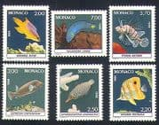 Monaco 1988 Fish  /  Marine  /  Nature  /  Sealife  /  Aquarium 6v set (n33796)