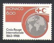 Monaco 1988 Red Cross  /  Crescent  /  Welfare  /  Health  /  Globe 1v (n34194)