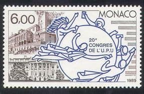 Monaco 1989 UPU  /  Palace  /  White House  /  Buildings  /  Architecture  /  Post  /  Mail 1v (n39300)