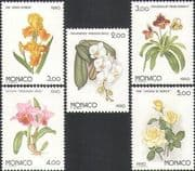 Monaco 1990 Flowers/ Plants/ Nature/ Gardens/ Roses/ Orchids/ Irises  5v set (n34333)