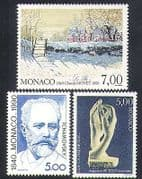 Monaco 1990 Tchaikovsky  /  Rodin  /  Monet  /  Art  /  Music  /  Sculpture  /  People 3v set (n37845)