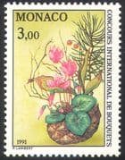 Monaco 1991 Cyclamen/ Lily-of-the-Valley/ Pine/ Fir Cone/ Flowers/ Plants/ Nature/ Flower Show 1v (n41522)