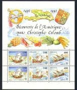 Monaco 1992 Columbus  /  Sailing Ships  /  Transport  /  Exploration  /  Nautical 6v sht n33763