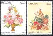 Monaco 1992 Flowers  /  Fruits  /  Crops  /  Plants  /  Nature  /  StampEx 2v set (n39567)