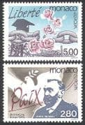 Monaco 1995 Europa  /  Peace  /  Freedom  /  Dove  /  Nobel Prize  /  Chain  /  Flowers 2v set (n40595)