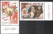 Monaco 1998 Christmas/ Greetings/ Nativity/ Art/ Painting/ Decoration 2v set (n43545)