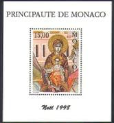 Monaco 1998 Christmas  /  Virgin  /  Child  /  Nativity  /  Art  /  Icon  /  Greetings 1v m  /  s (n38181)