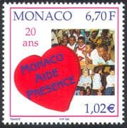 Monaco 1999 Aid and Presence Charity/ Welfare/ Health/ Hospitals/ Orphanages/ Children/ Heart 1v n41492
