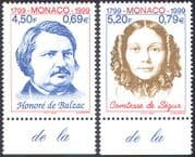 Monaco 1999 Balzac/ Rostopchine/ Comtesse de Segur/ Writers/ Books/ Literature/ People 2v set (n41441)