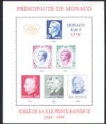 Monaco 1999 Prince Rainier III/ Royal/ Royalty/ People/ Stamp-on-Stamp/ S-on-S  1v m/s n38437