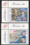 Monaco 1999 Stamp Exhibition  /  StampEx  /  Stamp-on-Stamp  /  Coins  /  Postcard 2v set n3893
