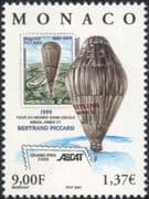 Monaco 2000 Breitling Orbiter/ Flight/ Balloon/ Aviation/ Stamp-on-Stamp 1v (n38285)