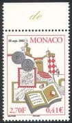 Monaco 2001 Coins/ Stamps/ Postcards/ Books/ Exhibition/ Castle/ Animation 1v (n41453)