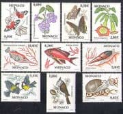 Monaco 2002 Butterflies  /  Flowers  /  Fish  /  Shells  /  Nature  /  Insects  /  Birds 10v set n38392