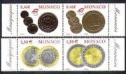 Monaco 2002 Euro Coins  /  Money  /  Currency  /  Commerce  /  Business  /  Economy 4v  STAMP set (n38398)