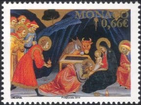 Monaco 2014 Christmas/ Greetings/ Nativity/ Magi/ Donkey/ Cattle/ Art/ Painting/ Artists 1v (mc1053)