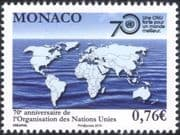 Monaco 2015 United Nations 70th Anniversary/ World Map/ Peace Keeping/ Welfare/ Cooperation 1v (mc1045)