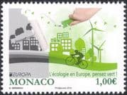 "Monaco 2016 Europa ""Think Green""/ Factory/ Cycling/ Bikes/ Bicycles/ Wind Power/ Environment/ Conservation/ Nature/ Ecology/ Industry 1v (mc1040)"