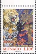 Monaco 2017 Circus Festival/ Clowns/ Tiger/ Lion/ Animals/ Nature/ Animation/ Gold Foil Embossed 1v (mc1119)