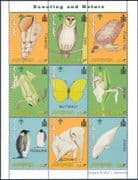 Mongolia 2001 Scouts/ Penguin/ Frog/ Orchid/ Turtle/ Owl/ Shell/ Whale/ Elephant/ Butterfly/ Nature 9v sht (n11567)