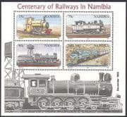 Namibia 1995 Steam Engine  /  Trains  /  Rail  /  Railways  /  Transport reprint 4v m  /  s (b7766)
