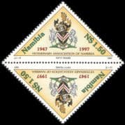 Namibia 1997 Veterinary Association/ Horse/ Cattle/ Coat-of-Arms 2 x 1v tete-beche pair (n20143)