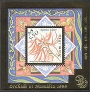 Namibia 1999 Orchids/ Flowers/ Plants/ StampEx/  Gold Foil Embossed 1v m/s (b903)