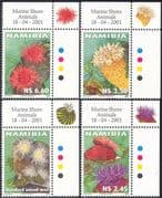 Namibia 2001 Sea Anemones/ Anemone/ Marine Animals/ Nature/ Conservation/ Environment 4v set (b4626a)