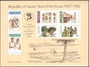 Nauru 1982 Scouts 75th/Scouting/Youth/Jamboree/Camp/StampEx 6v impf m/s (s2209)