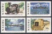 Nauru 1982 Trains  /  Steam  /  Rail  /  Railways  /  Ships  /  Boats  /  Mining  /  Transport 4v set n25710