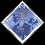 Nepal 1994 ILO 75th Anniversary  /  Labour  /  Unions  /  Workers  /  Emblem  /  Telephone 1v n40508