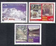 Nepal 2000 Mountains  /  Nature  /  Tourism  /  Annapurna  /  Glacier  /  Lake  /  Temple 3v set n37212