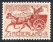 Netherlands 1943 Stamp Day  /  Horse  /  Mail Cart  /  Post  /  Transport  /  Animals 1v (n40985)