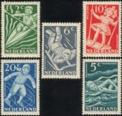 Netherlands 1948 Children's Welfare/ Health/ Sports/ Canoeing/ Skating/ Swimming/Tobogganing 5v set (n30025)