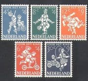 Netherlands 1958 Child Welfare  /  Children's Games  /  Bike  /  Car  /  Scooter 5v set (n37985)