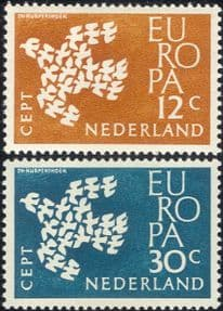 Netherlands 1961 Europa/ Doves/ Birds/ Nature/ Peace/ Animation/ Design 2v set (ex1029)
