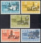 Netherlands 1965 Welfare Fund  /  Buildings  /  Architecture  /  Boats  /  Church 5v set n39904