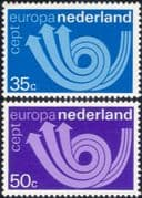 Netherlands 1973 Europa/ CEPT/ Communication/ Posthorn/ Arrows/ Animation 2v set (ex1055)