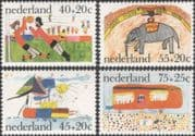 Netherlands 1976 Children's Paintings/ Welfare Fund/ Football/ Elephant/ Circus/ Boat 4v set (n45333)