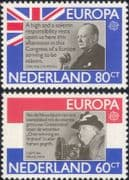 Netherlands 1980 Europa/ Churchill/ Queen Wilhelmina/ Politics/ WWII/ People/ History  2v set n46374